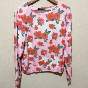 Wildfox Roses Pink Sweater Size Small